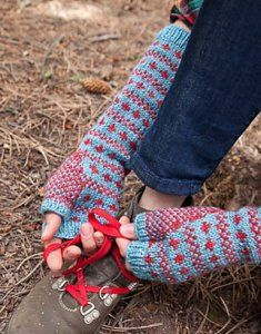 """Scandies Mitts Kit - priced at $66.00. """"Created from beautiful Madelinetosh Pashmina, these extra-long fingerless mitts have a Scandinavian appeal in a simple two-colour pattern."""""""