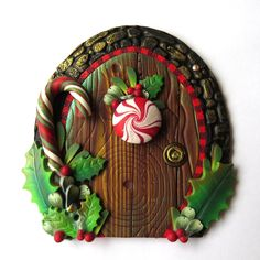 Peppermint Candy Elf Door Miniature Fairy Door for the Holidays, Polymer Clay Christmas Wall Decor by Claybykim on Etsy