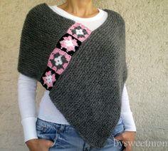 Dark Grey Poncho with Afghan Motif Knit Crochet by bysweetmom, $69.00