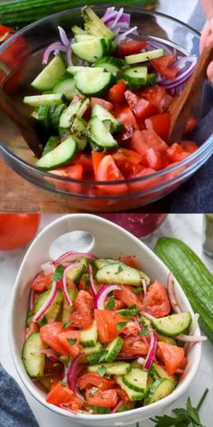 Cucumber Tomato Salad is the perfect light healthy side dish! Easy and delicious!This Cucumber Tomato Salad is the perfect light healthy side dish! Easy and delicious! Best Salad Recipes, Cucumber Recipes, Veggie Recipes, Vegetarian Recipes, Cooking Recipes, Healthy Recipes, Simple Salad Recipes, Red Onion Recipes, Cucumber Appetizers
