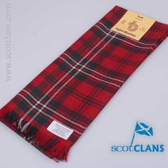 Pure wool scarf in Scott Red Modern Tartan - from ScotClans