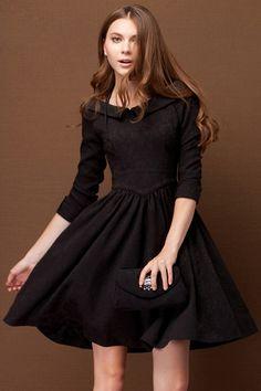 ROMWE | V-neck Flouncing Black Autumn Dress, The Latest Street Fashion