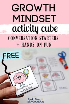 Easily add hands-on & interactive fun to your growth mindset for kids lessons. This free printable cube had conversation starters for kids to think about & practice growth mindset skills. Such a simple yet effective way to teach these important concepts! Growth Mindset For Kids, Growth Mindset Activities, Social Emotional Learning, Fun Learning, Teaching Kids, Indoor Activities For Kids, Classroom Activities, Family Activities, Outdoor Activities