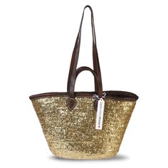 Mit Pailletten bestickte Korbtasche, geflochten aus Osier Palmblatt. Straw Bag, Tote Bag, Bags, Design, Sequins, Braid, Dime Bags, Handbags, Carry Bag