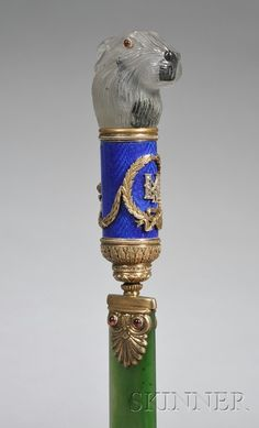Russian Goldwashed Silver, Enamel and Stone Paper Knife