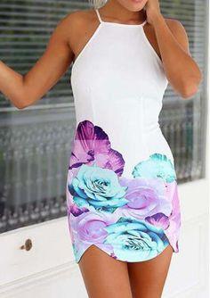 Backless Flower Printed Mini Dress