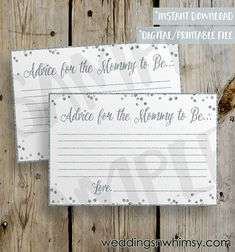 PRINTABLE Silver Glitter Confetti Baby Shower Advice Card -  DIY Instant Download Mommy Advice Card Digital File Shower Invitation Enclosure