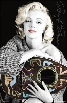 Marilyn Monroe and Lute - High Quality Poster