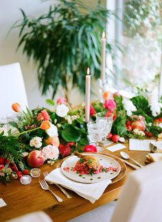A Blossoming Spring Brunch | Rue - Design/Styling: Twofold LA - Florals: Emblem Flowers - Photography: Brian Tropiano - Papergoods: Monvoir - Catering: Taste of Pace - Tabletop: Borrowed Blu
