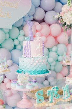 Birthday Parties 569705421615401843 - Pastel Mermaid Birthday Cake on Pretty My Party Source by lesideeshautes Mermaid Birthday Cakes, Little Mermaid Birthday, Mermaid Cakes, 2nd Birthday Parties, Birthday Party Decorations, Pastel Party Decorations, Birthday Ideas, Birthday Themes For Girls, Baby Girl Birthday Theme