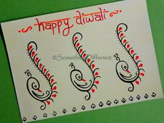 Diwali Greeting card Diwali Cards, Diwali Greeting Cards, Diwali Greetings, Greeting Cards Handmade, Preschool Alphabet, Diwali Festival, Happy Diwali, Journaling, Door Handles