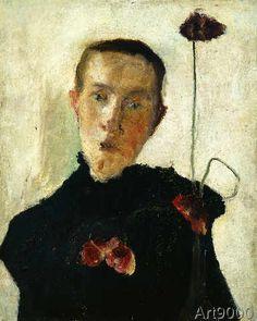 Paula Modersohn-Becker - Brustbild einer Frau mit Mohnblumen