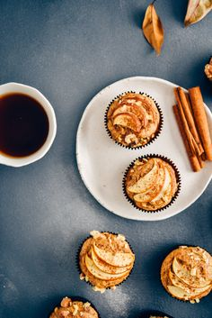 Healthy apple muffins made with whole wheat flour. No granulated sugar in these, no butter but soft, moist and light. Healthy Apple Cinnamon Muffins, Apple Muffins, Cinnamon Apples, Fall Treats, Whole Wheat Flour, Apple Slices, Granulated Sugar, Apple Recipes, Dairy Free