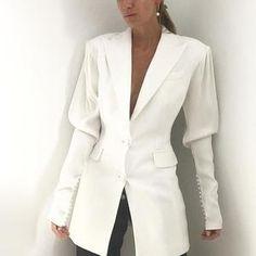 Women Beads Outwear Lapel Single-breasted Slim Blazer Runway Suits Jacket Coat - Ideas of Tweed Jacket Women Blazers For Women, Suits For Women, Jackets For Women, Clothes For Women, Tweed Jacket, Blazer Jacket, Denim Suit, Mode Costume, Casual Suit