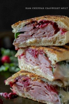 This simple ham cheddar cranberry melt sandwich is the perfect way to use up leftover Christmas ham. A perfect balance of sweet, salty and cheesy.
