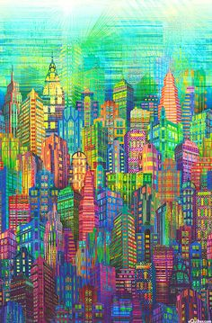 Skylines - New York Border - Multi - DIGITAL PRINT - Quilt Fabrics from www.eQuilter.com