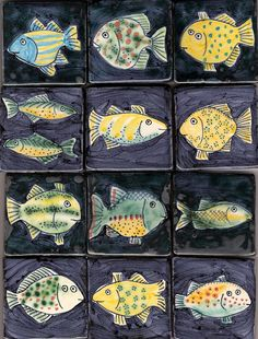 Small fish tiles by Reptile Small fish tiles by Reptile Clay Fish, Kids Clay, Fish Patterns, Art Textile, Slab Pottery, Fish Design, Clay Animals, Fish Art, Clay Projects
