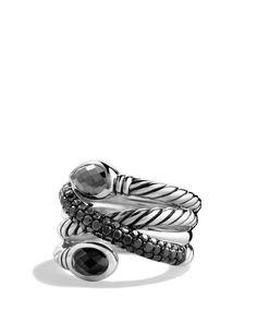 David Yurman Renaissance Crossover Ring with Hematine, Black Onyx and Black Diamonds