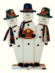J & J Wood Crafts - Trio Snowmen - Woodcraft Patterns and Woodworking Patterns