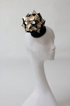 Gold metallic leather headpiece, lady gaga, cosmic, triangles, origami, ascot, the races.