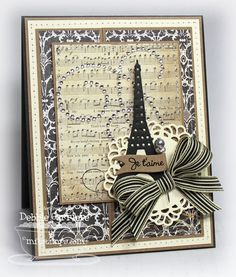 MFT Eiffel Tower - browns and creams, vintage style card For My handmade greeting cards visit me at My English Personal blog: http://stampingwithbibiana.blogspot.com/