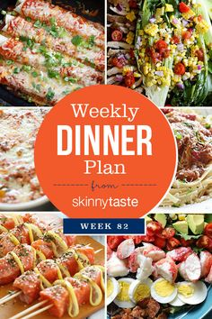 Skinnytaste Dinner Plan (Week 82). Summer is in full swing and I am adding some seasonal recipes to the meal plan this week. Pictured below is The Skinnytaste Meal Planner where I plan my dinners for the week (you can of course use any meal planner). Meal planning is a great way to get organized before heading to the supermarket to get ready for the week! My breakfast is usually something quick like eggs with fruit, a smoothie or avocado toast. We're a family of four, so if a recipe serves…