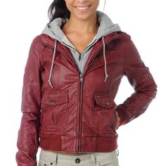 """Maroon and Grey Obey Jacket - X-Small Maroon and grey pleather """"Jealous Lover"""" jacket from Zumiez. Xsmall. NWOT! Thanks for looking! Obey Jackets & Coats"""