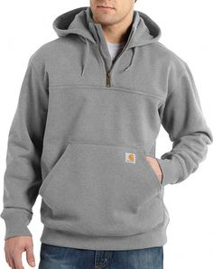 d407214f947 Carhartt Men s Paxton Heavyweight Hooded Zip Mock Sweatshirt (Heather Grey