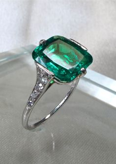 Belle Epoque Emerald and Diamond Ring by Cartier