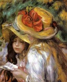 Two Young Girls Reading - Pierre Auguste Renoir - circa -- The models for this painting were probably Julie Manet, daughter of Berthe Morisot and niece of Edouard Manet, and Paulette Gobillard, her first cousin. Pierre Auguste Renoir, Edouard Manet, Jean Renoir, Claude Monet, August Renoir, French Impressionist Painters, Renoir Paintings, Oil Paintings, Painting Portraits