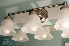 Changing Out a Light Fixture (Bye-Bye Hollywood Strip Light) - Pretty Handy Girl Replace Light Fixture, Light Fixture Makeover, Bathroom Light Fixtures, Bathroom Lighting, White Lace Curtains, Modern White Bathroom, Hollywood Lights, Bathroom Pictures, Bathroom Ideas