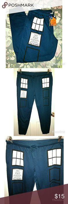 NWT BBC Doctor Who Sweatpants NWT BBC Doctor Who Police Box Sweatpants, 60% Cotton and 40% Polyester. Size: Misses/Juniors XL (Fits like a ladies large). Brand New! Hot Topic Pants Track Pants & Joggers