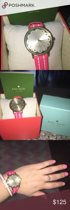 NWT Kate Spade Gold Pink Watch Holiday Gift Stunning Kate Spade watch, NWT, gold time piece with pink and white genuine leather band. Comes with box, and care instructions, including all tags. Brand new, never worn. Selling because it was a gift from an Ex-boyfriend. This would make a perfect Christmas gift for some lucky lady, or else a New Years gift to yourself! :) Package ships from Atlanta. kate spade Accessories Watches