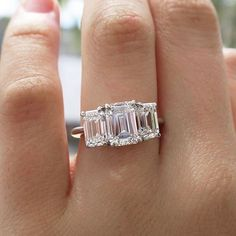 Tiffany & Co. Three Stone Emerald Cut Diamond Ring in Platinum #wedding #engagement #vintage #jewelry