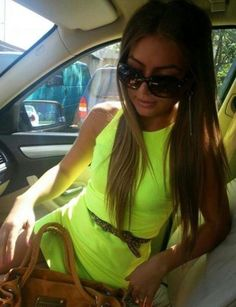b4391d2d94e neon dress  fashion  dress  handbag  glasses  long hair  neon  strap