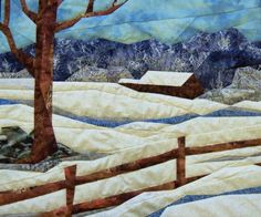 fabric art landscape quilted snowscene wall by Serenstitches, $125.00