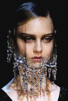 I want a lace jewel veil.  beautyandcuriosity:    HER FACE HAS THE MYSTERY LIKE THE MONA LISA & THE SPYHNX.  moldavia:    Armani Privé Haute Couture F/W 2012