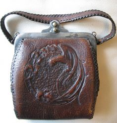 Antique Art Nouveau Deco Bird Of Paradise Hand Tooled Leather Purse JEMCO AS IS   eBay