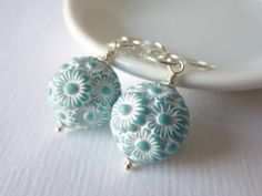 Flower Drop Earrings, Sterling Silver Earrings, Turquoise and White by KittyBallistic for $23.00