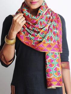 Buy Multi Color Crepe Phulkari Stole Accessories Scarves & Stoles The Spirit of Punjab Embroidered Apparels and Decor Accents Online at Jaypore.com