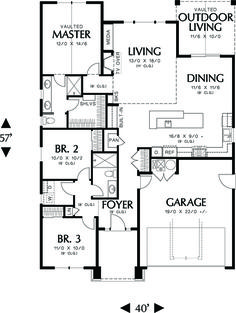 Craftsman Style House Plan - 3 Beds 2 Baths 1529 Sq/Ft Plan #48-598 Floor Plan - Main Floor Plan - Houseplans.com