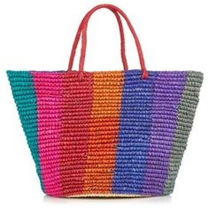 36 Colorful Straw Totes That'll Have Everyone at the Beach Talking Straw Beach Tote, Straw Tote, Beach Tote Bags, Straw Handbags, Tote Handbags, Best Beach Bag, Rainbow Bag, Art Bag, Tote Purse