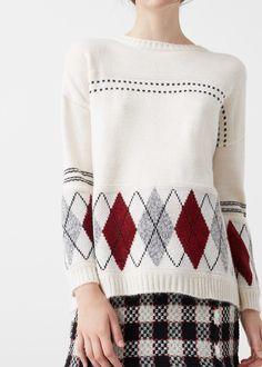 Rhombus design sweater -  Women | MANGO USA