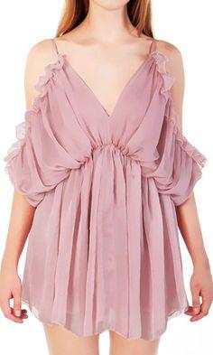 Neutral Pink Cold-Shoulder Dress