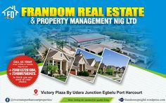 We are pleased to announce to you today that we have beautiful properties within & outside port harcourt for sale.  We also have landed properties, gas stations, filling stations, warehouses, duplexes, bungalows, etc, edifice located at different parts of port harcourt & outside port harcourt for Outright Sale.  Our prices are very friendly especially when the business involves the household of GOD.  https://frandomrepnigltd.wordpress.com