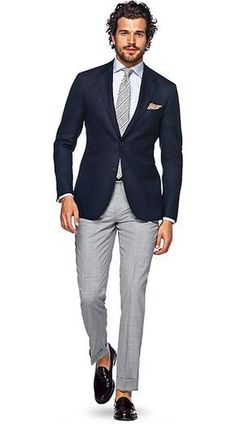 Jacket Navy Plain Havana is part of Navy blazer outfits With its patch pockets, notched lapel and natural shoulder, this exquisite halflined Havana gives you a relaxedyetrefined appeal for any - Mode Masculine, Mens Fashion Suits, Mens Suits, Navy Blazer Outfits, Navy Blazer Men, Navy Blazers, Stylish Men, Men Casual, Terno Slim