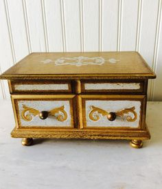 Vintage Gold Florentine Italian Footed by YellowHouseDecor on Etsy