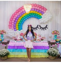 Love the rainbow tablecloth & this balloon backdrop which is really not hard to do! Unicorn Themed Birthday Party, Rainbow Birthday Party, 10th Birthday Parties, Girl Birthday, Birthday Ideas, Balloon Decorations, Birthday Party Decorations, Balloon Backdrop, Fete Emma
