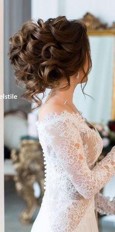 Hair and Hairstyles Tips & Trends Simple Wedding Hairstyles, Wedding Updo, Short Wedding Hair, Simple Weddings, Lace Weddings, Wedding Dresses, Beautiful, Bridal Hair, Long Hair Styles