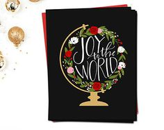 Boxed Christmas Cards 5x7 - Christmas Card Set of 8 - Hand Lettered Cards - Joy to the World